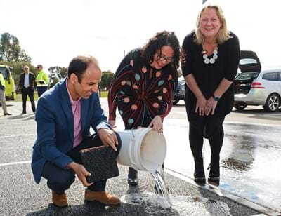 High-tech waste tyre pavement that can water trees installed at St Marys
